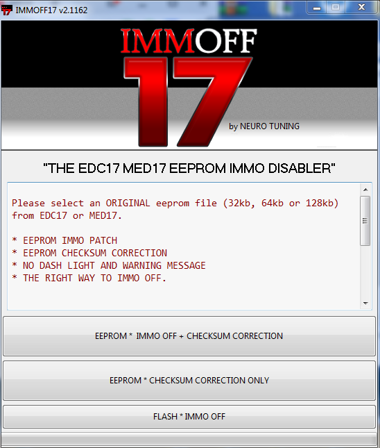 EDC17 MED17 eeprom Immo Disabler