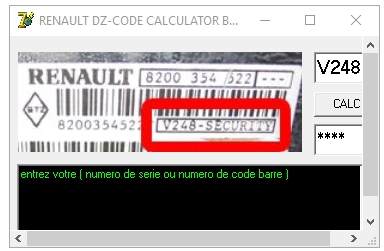 Renault DZ Radio Code Calculator