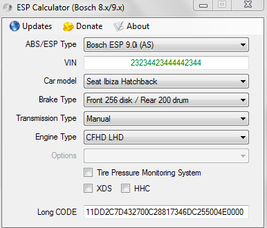 Bosch ESP Calculator