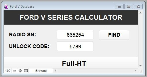 Ford V Series Radio Code Calculator