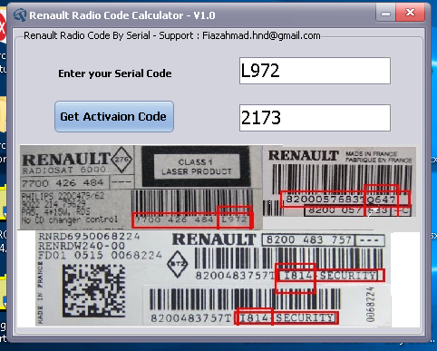 Renault Radio Code offline Calculator