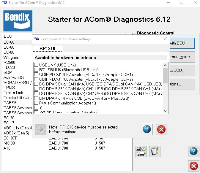 BENDIX ACOM 6 12 2 2 Diagnostics, CarSoftDiag